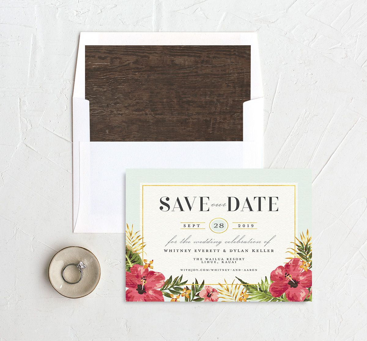 elegant paradise save the date cards in teal with envelope liner