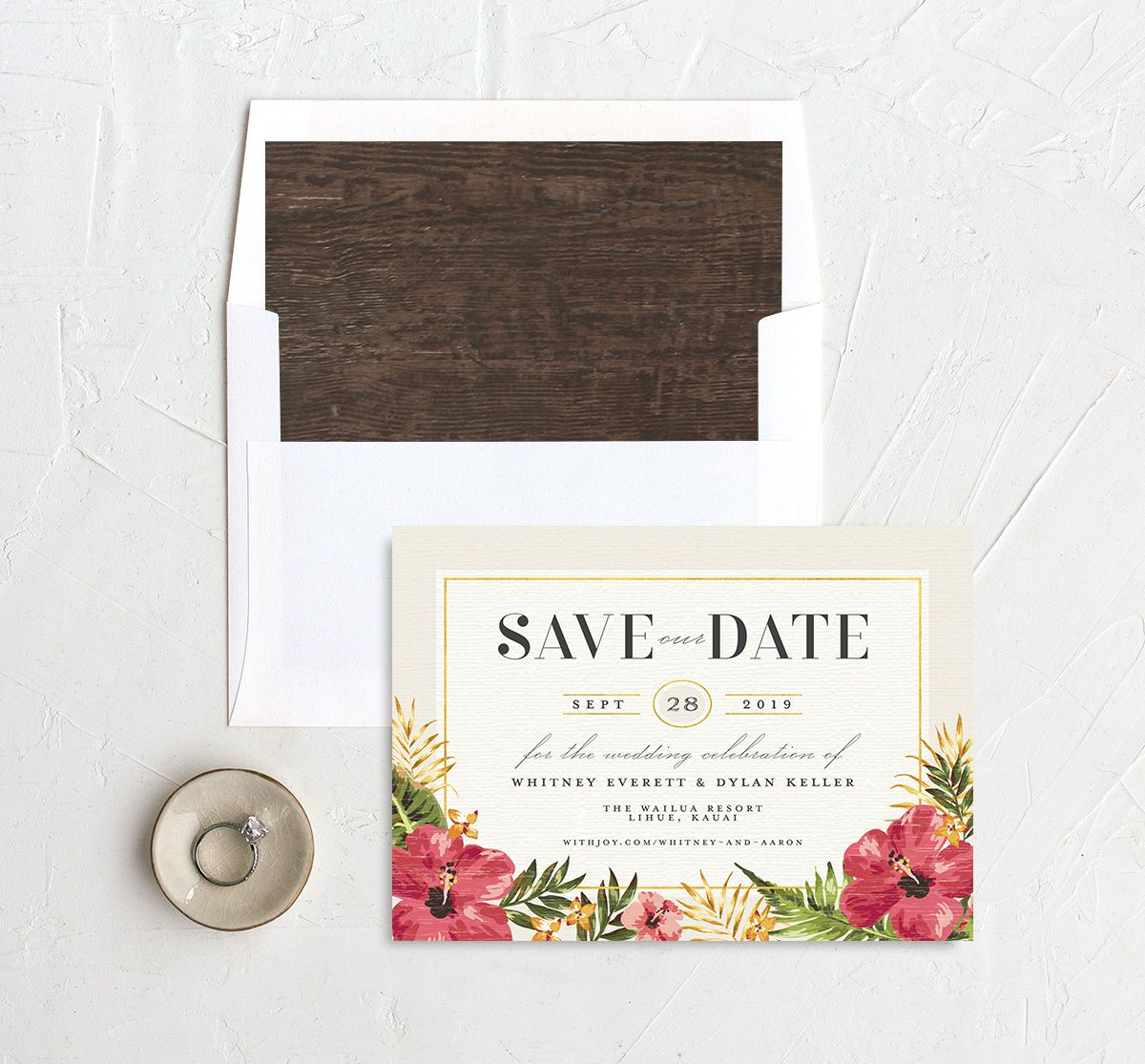 elegant paradise save the date in cream back