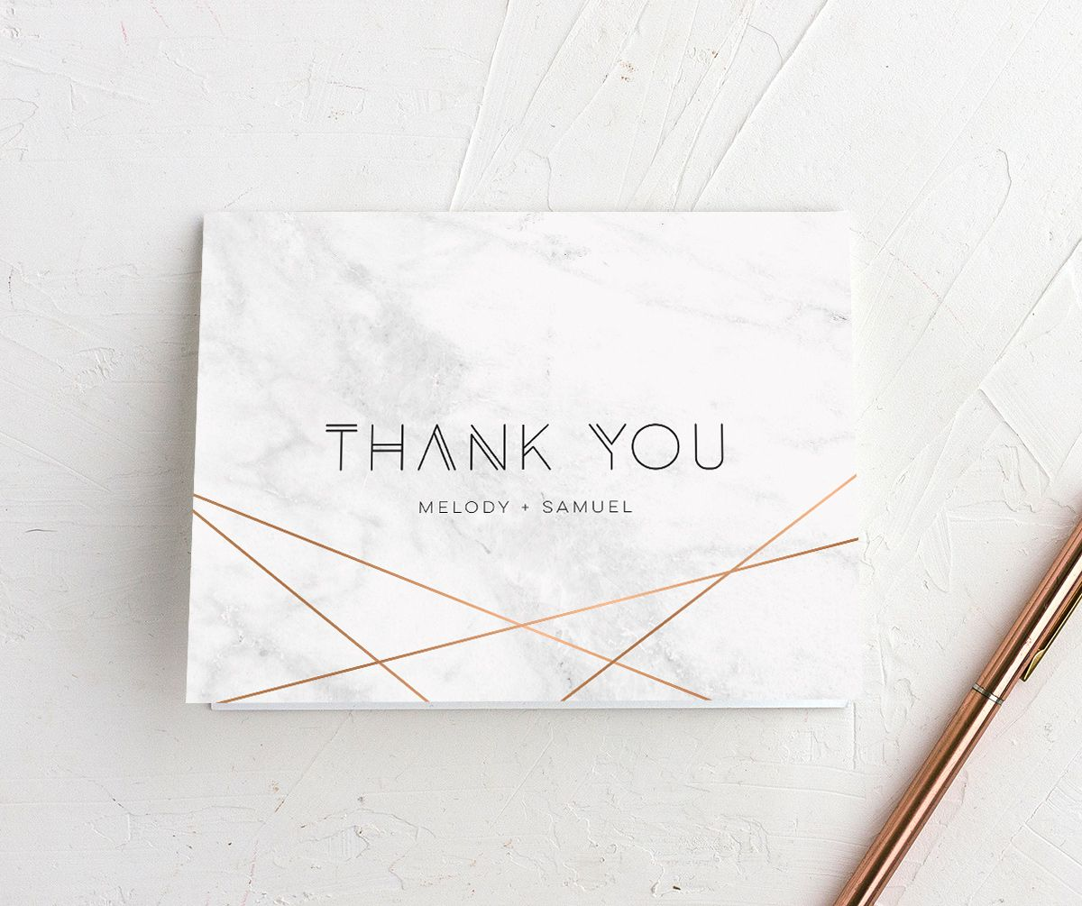 geometric marble thank you cards