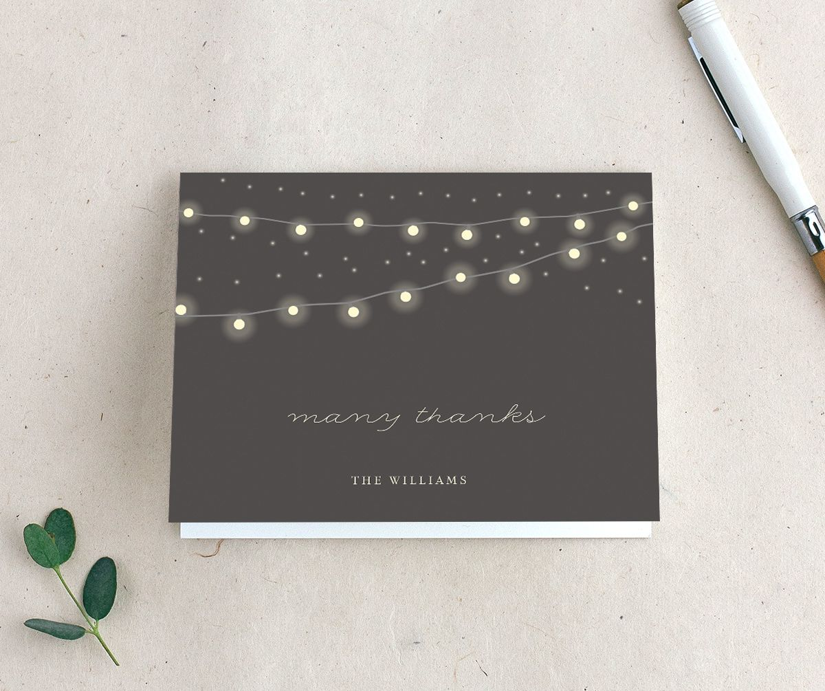 strung lights wedding thank you cards
