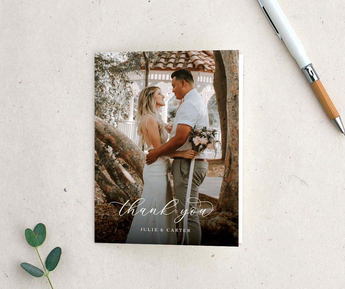 sunflower wedding thank you cards with photo