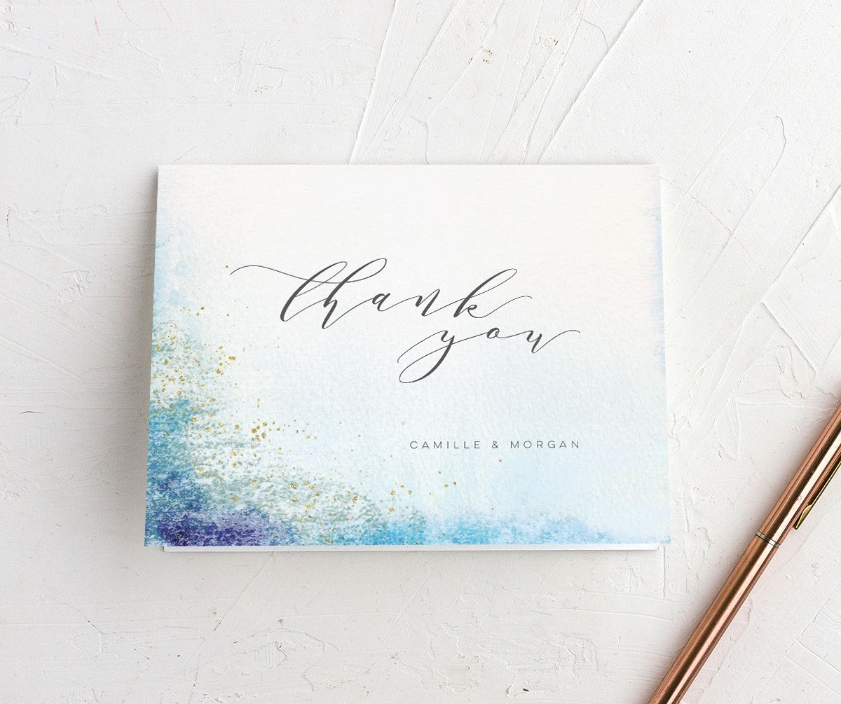 organic luxe thank you cards in blue