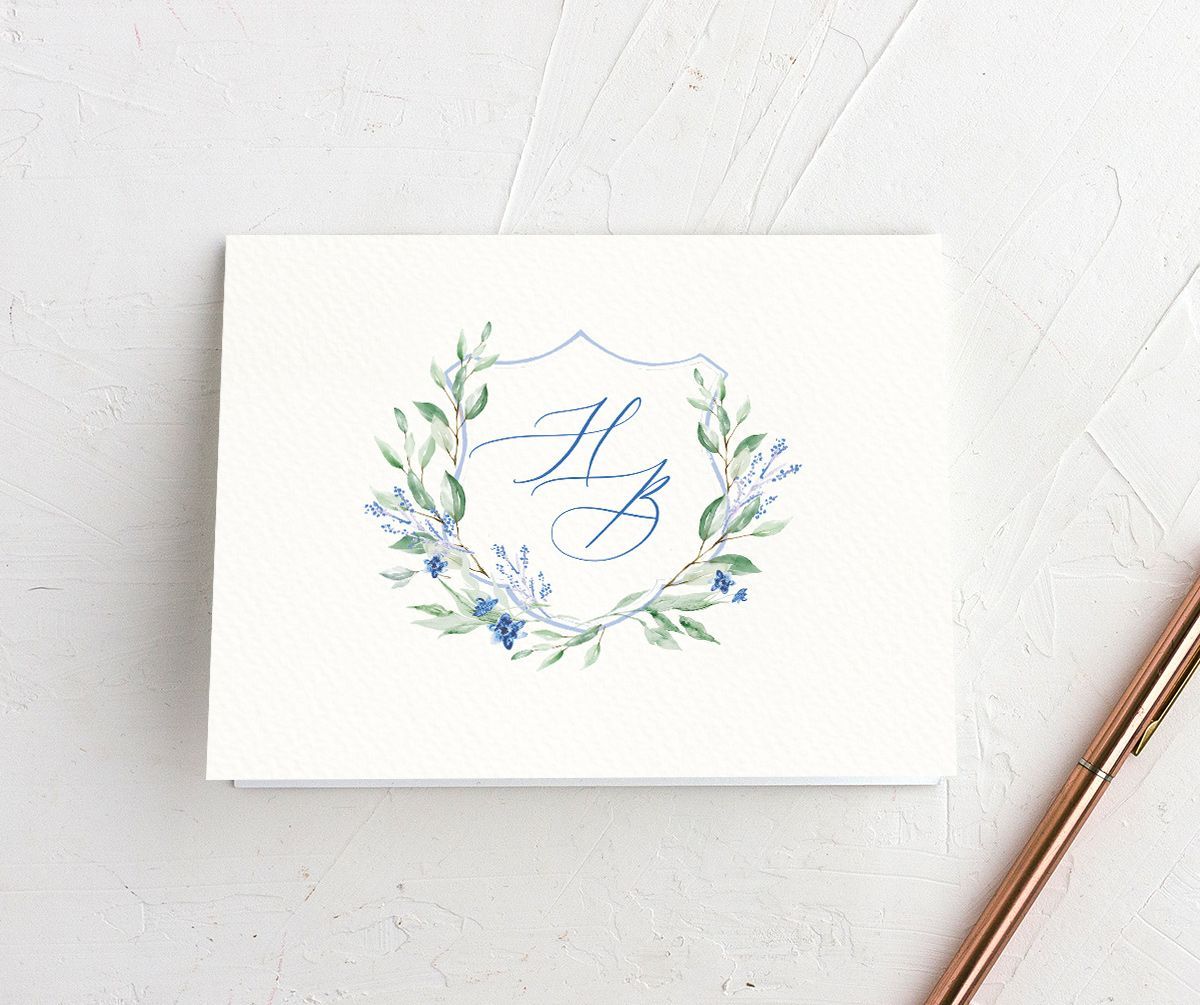 watercolor crest wedding thank you cards in blue
