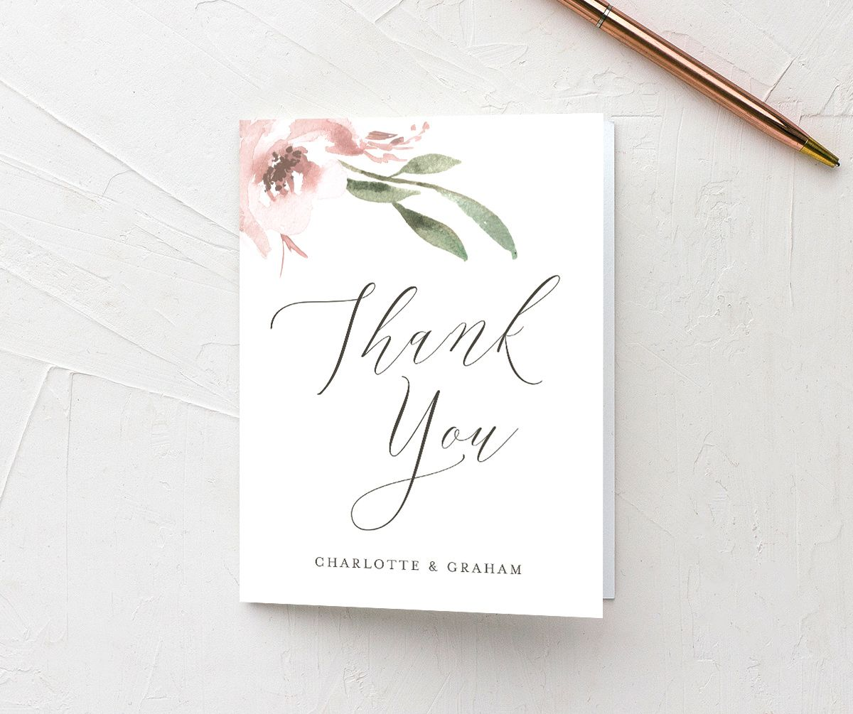 muted floral thank you cards in blush pink