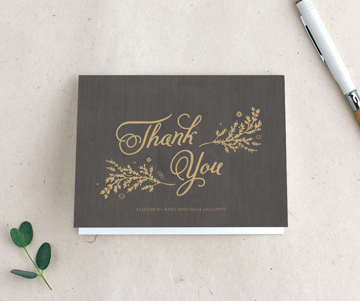 rustic chic wedding thank you cards in brown