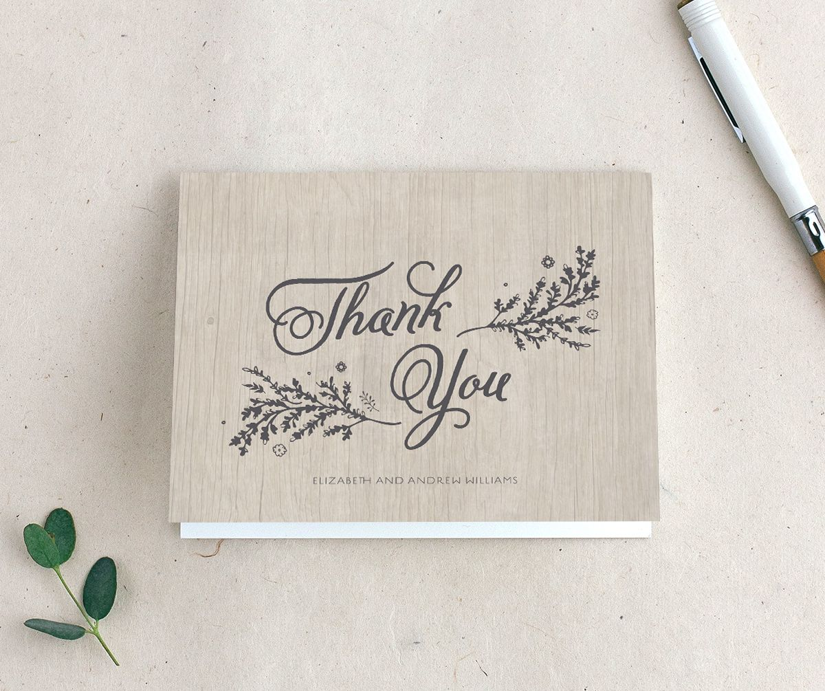 rustic chic wedding thank you cards in grey