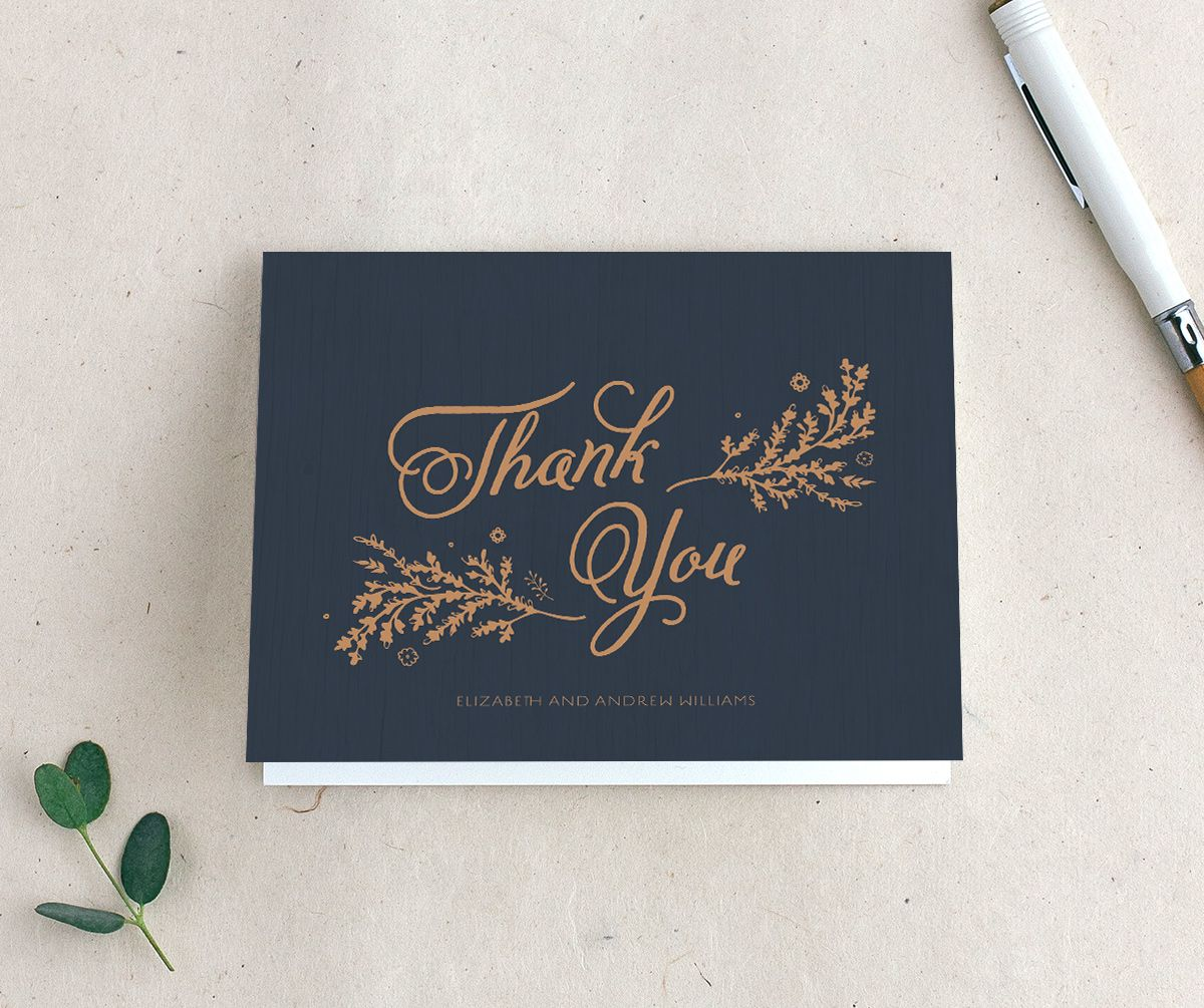 rustic chic wedding thank you cards in navy