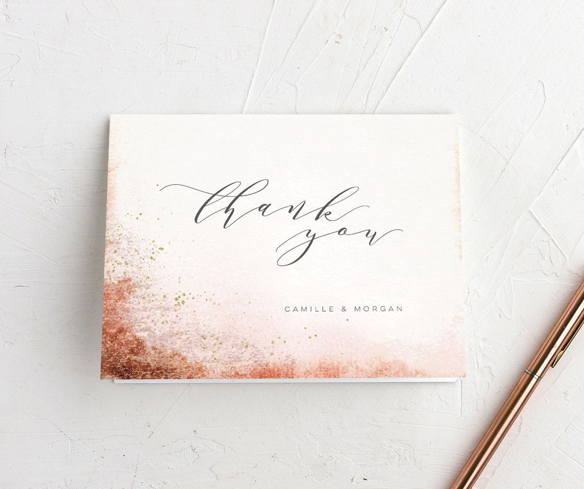 organic luxe thank you cards in orange