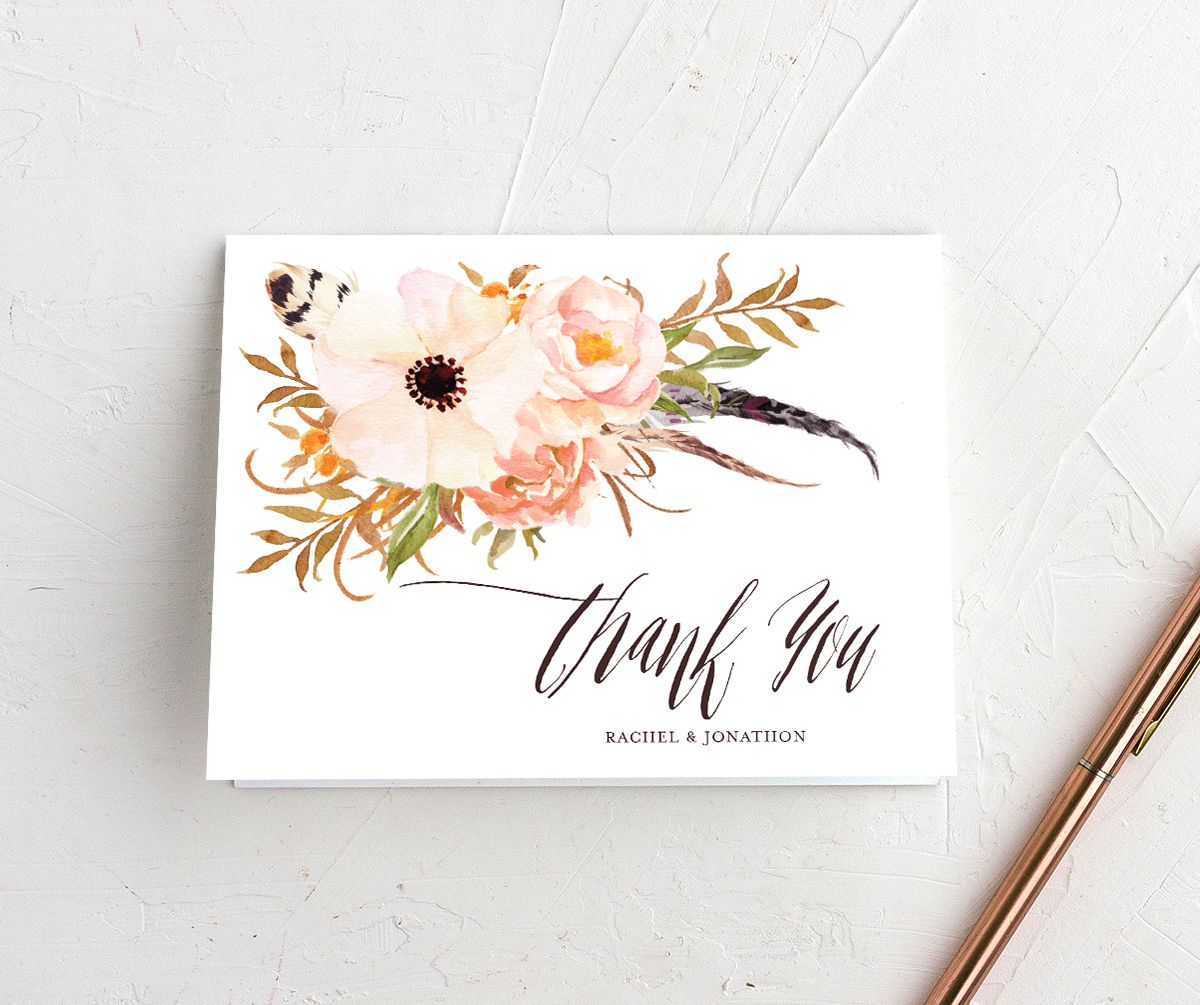bohemian floral wedding thank you cards in peach