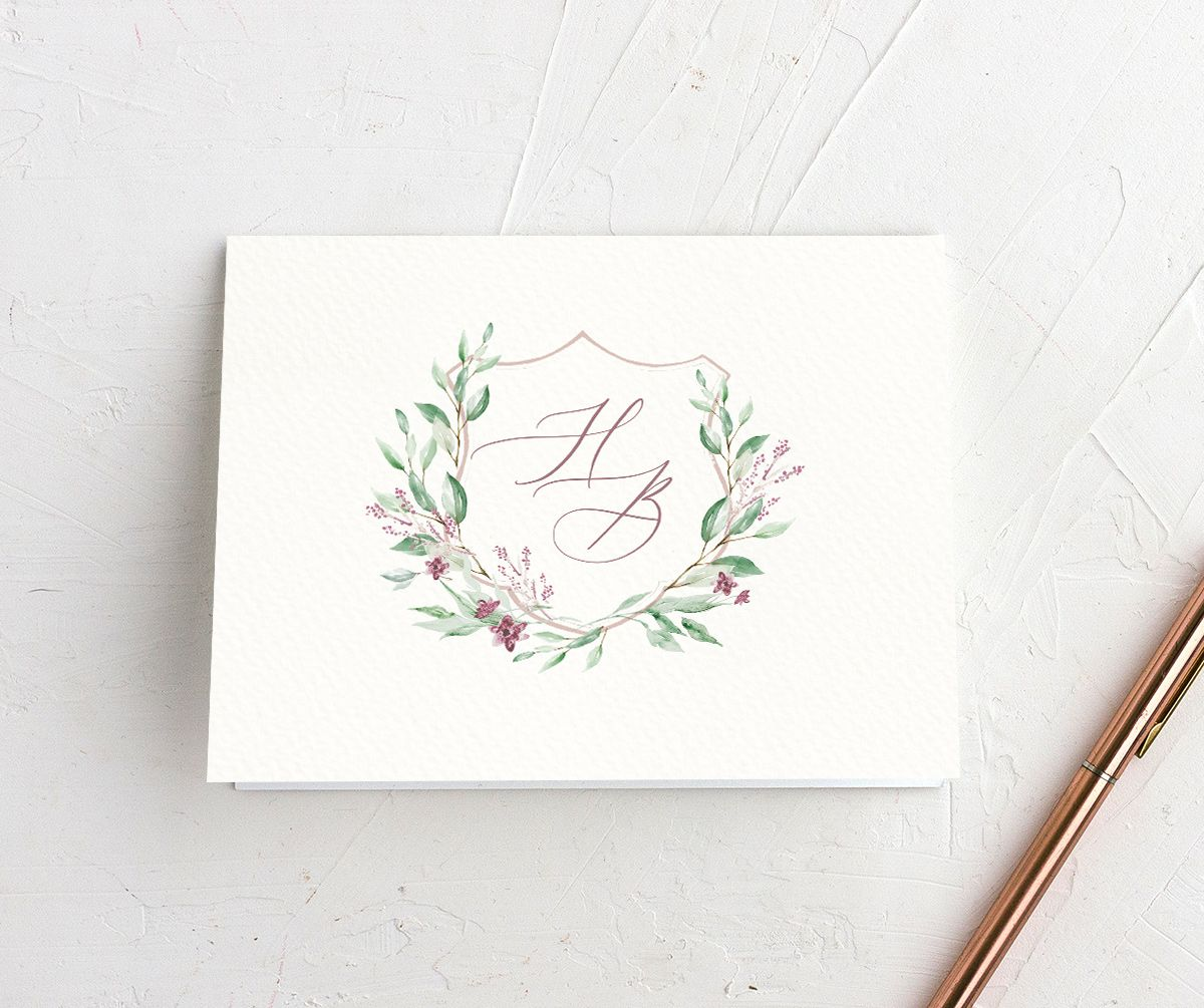 watercolor crest wedding thank you cards in pink
