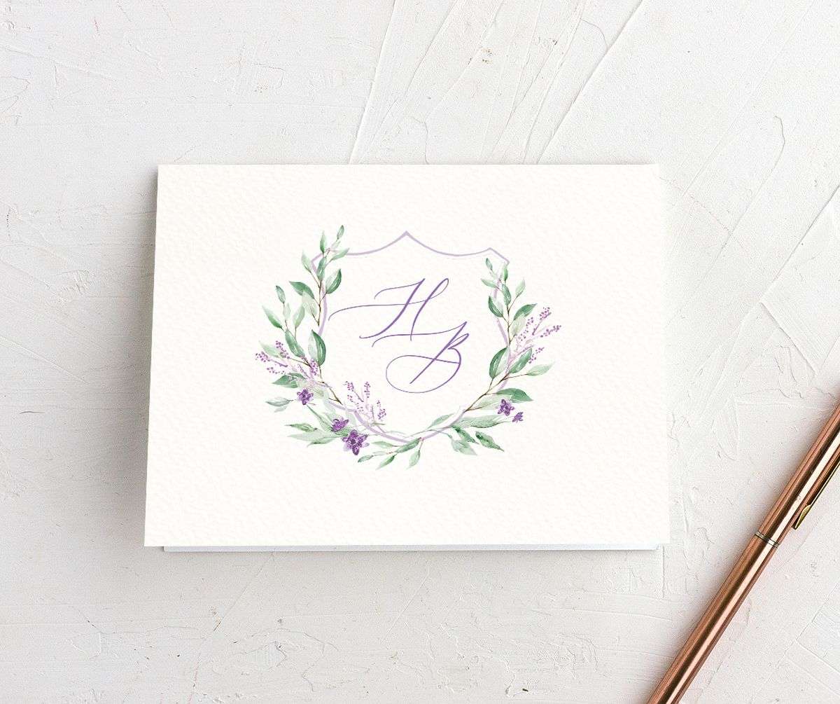 watercolor crest wedding thank you cards in purple