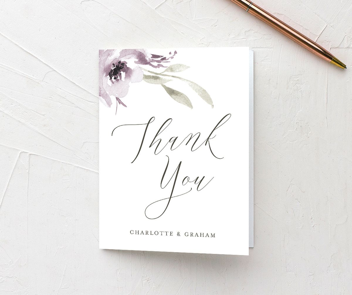muted floral thank you cards in purple