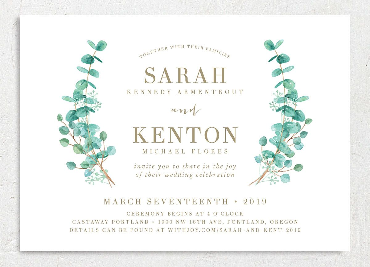 Elegant Eucalyptus Wedding Invitation front closeup