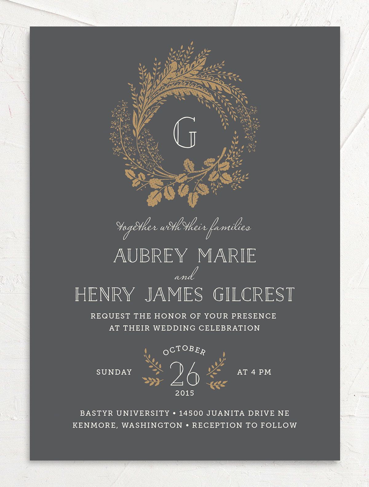 woodsy wreath wedding invitations in grey