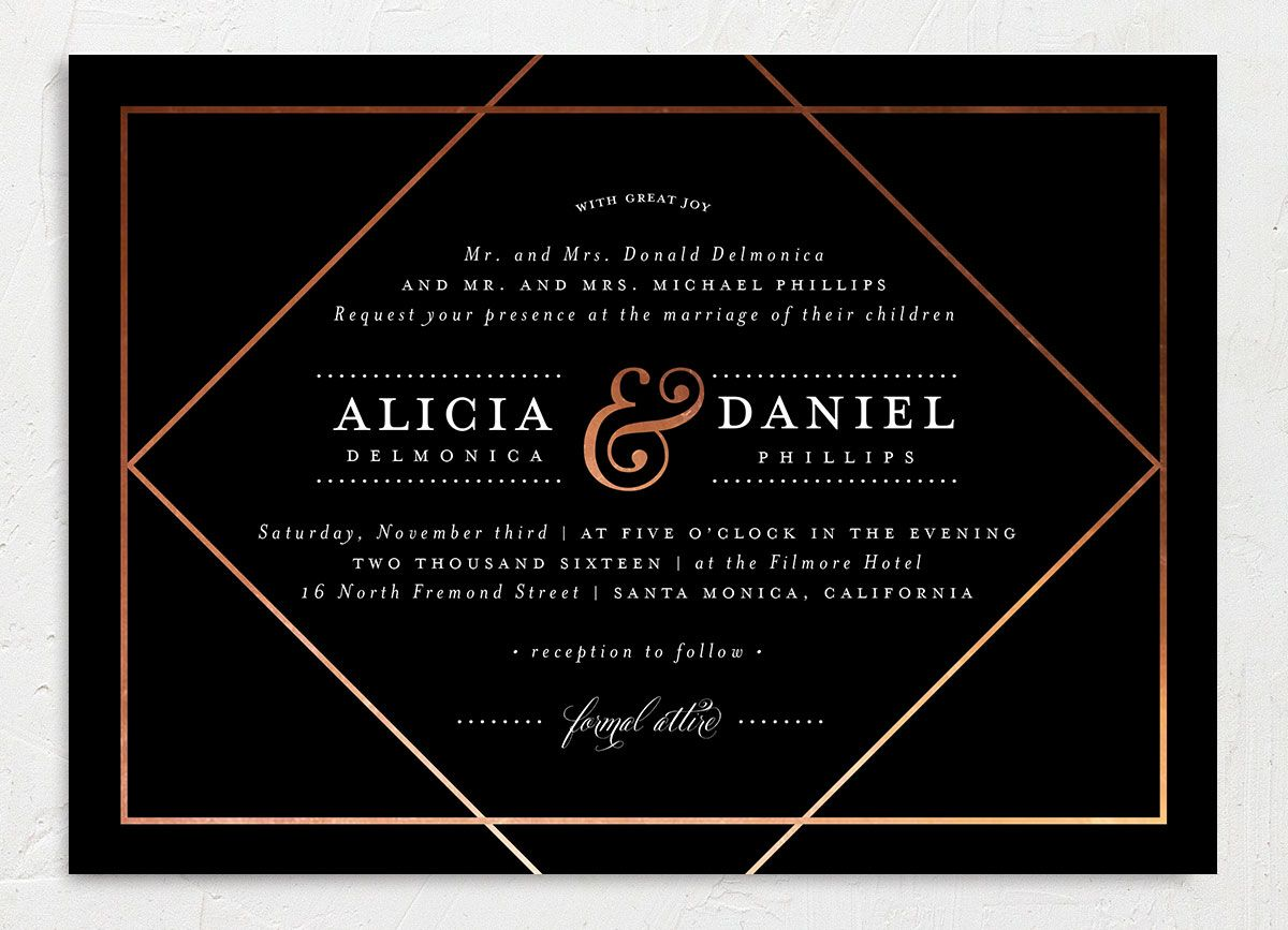 Formal Ampersand wedding invitation closeup black front