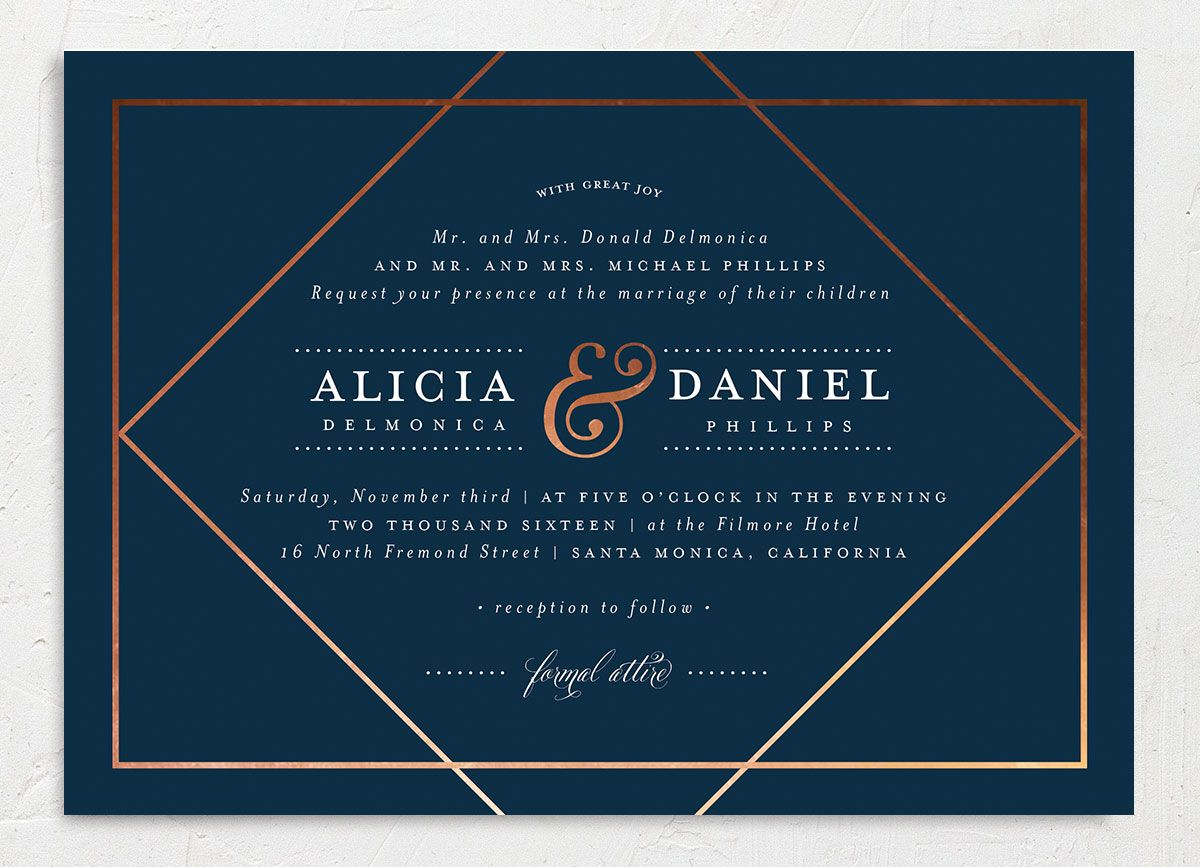 Formal Ampersand wedding invitation closeup navy front