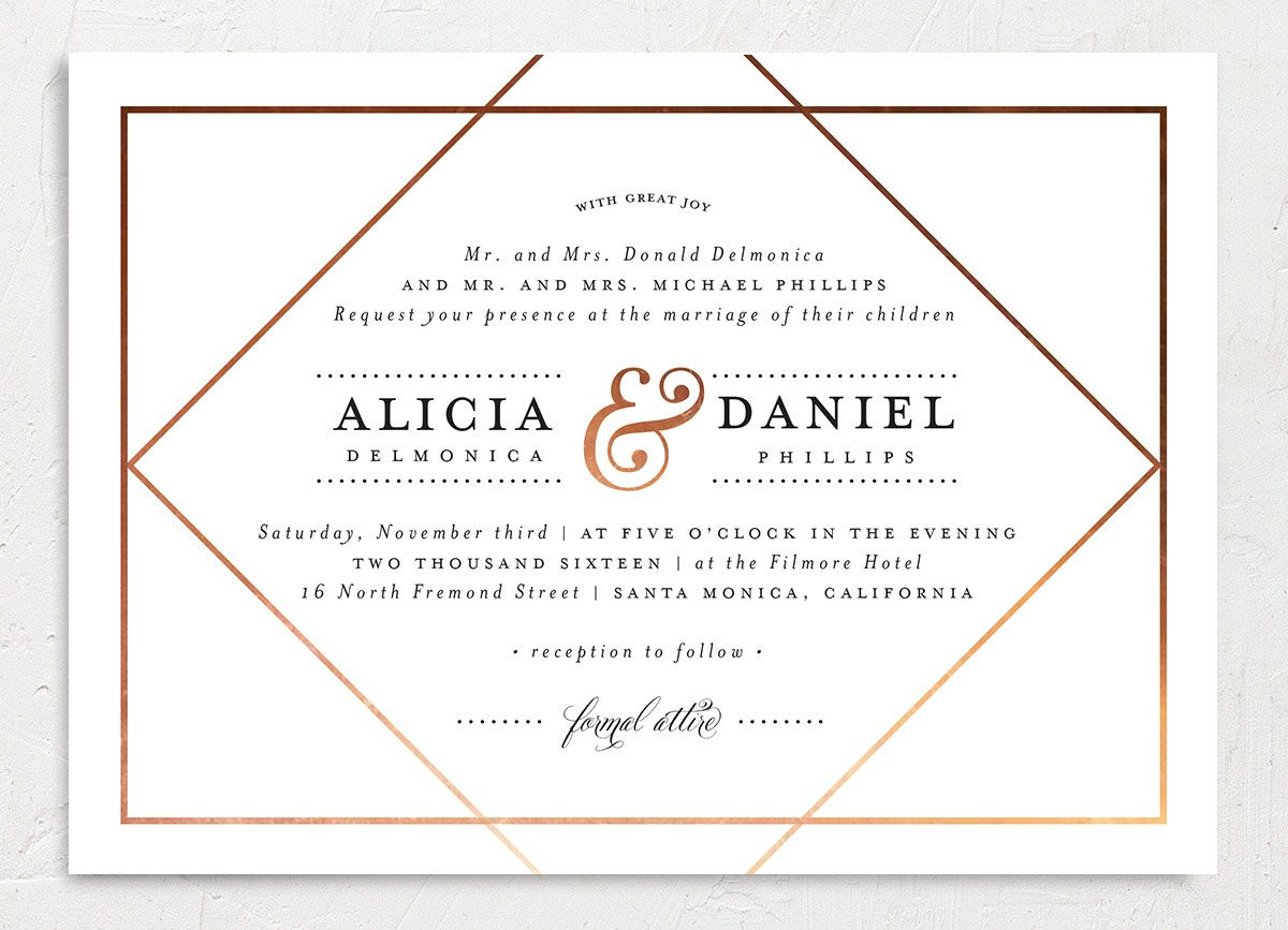Formal Ampersand wedding invitation closeup white front