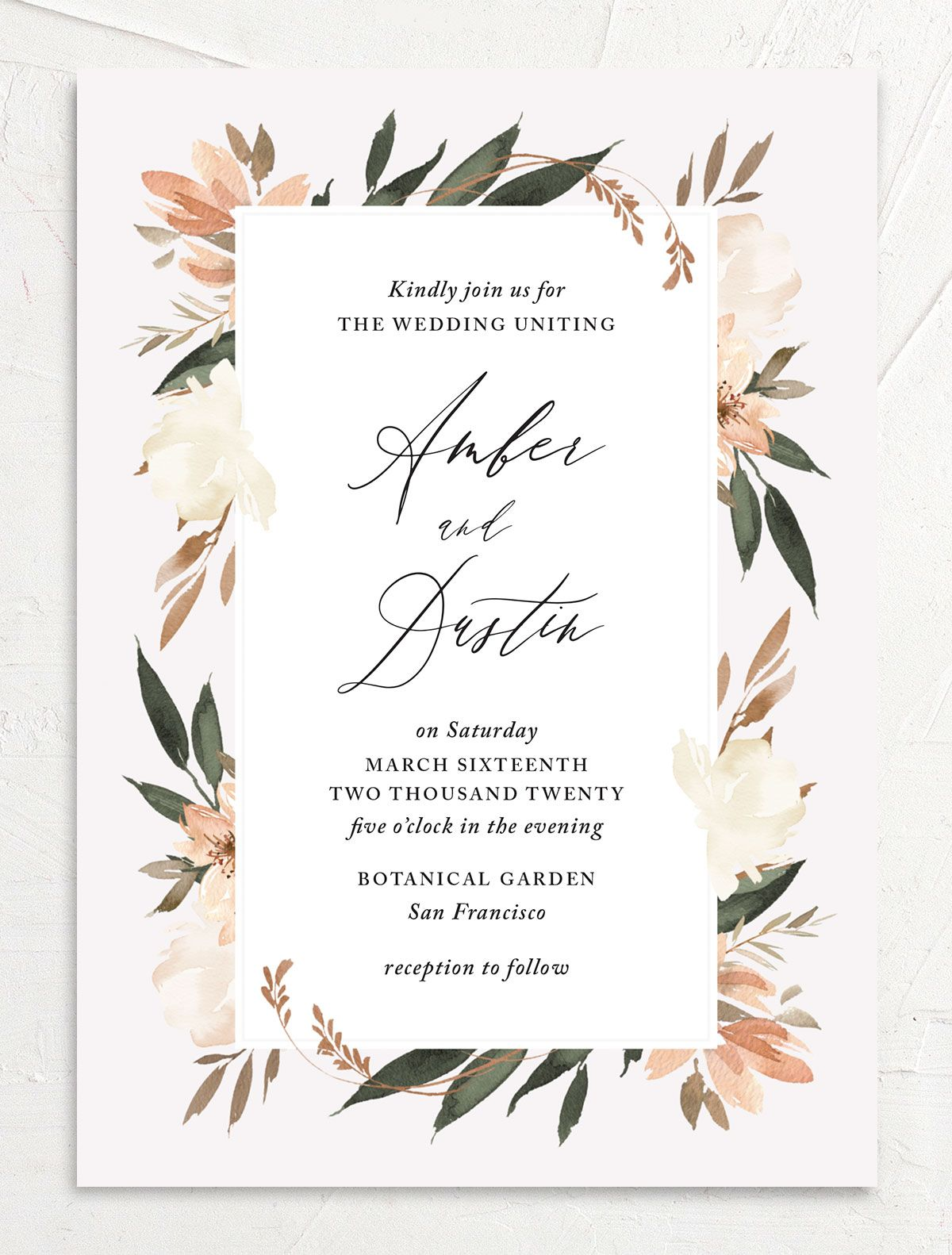 neutral greenery wedding invitations in orange