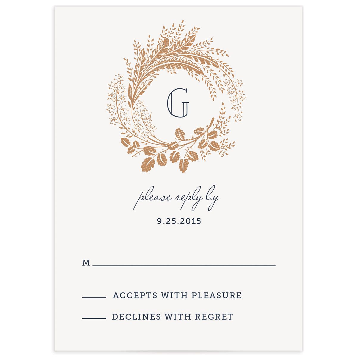 woodsy wreath wedding response cards in navy