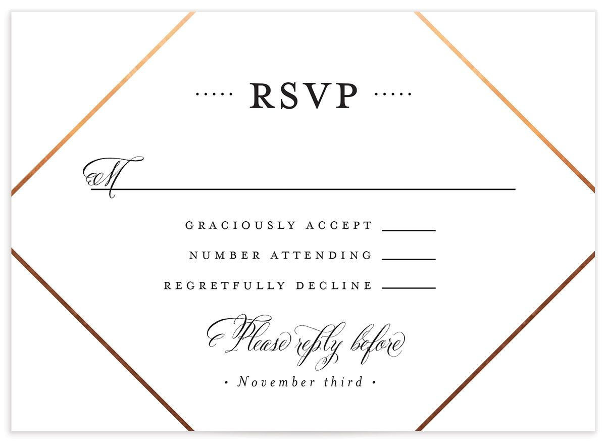 Formal Ampersand Wedding RSVP card front closeup white