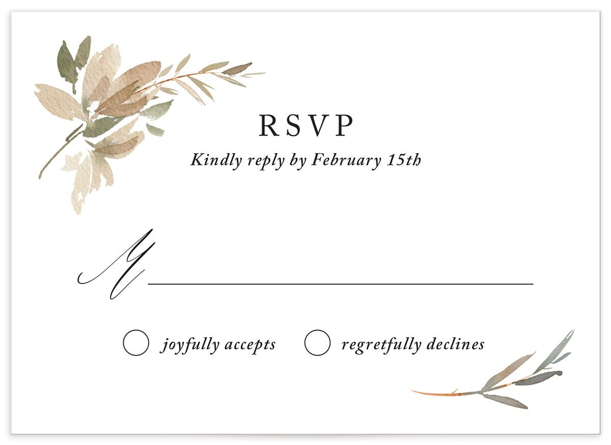 neutral greenery wedding response cards in green