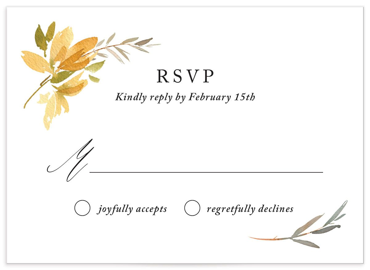 neutral greenery wedding response cards in yellow