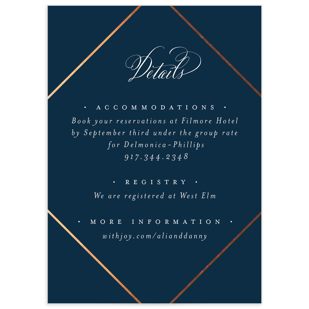 Formal Ampersand Enclosure Card front in navy