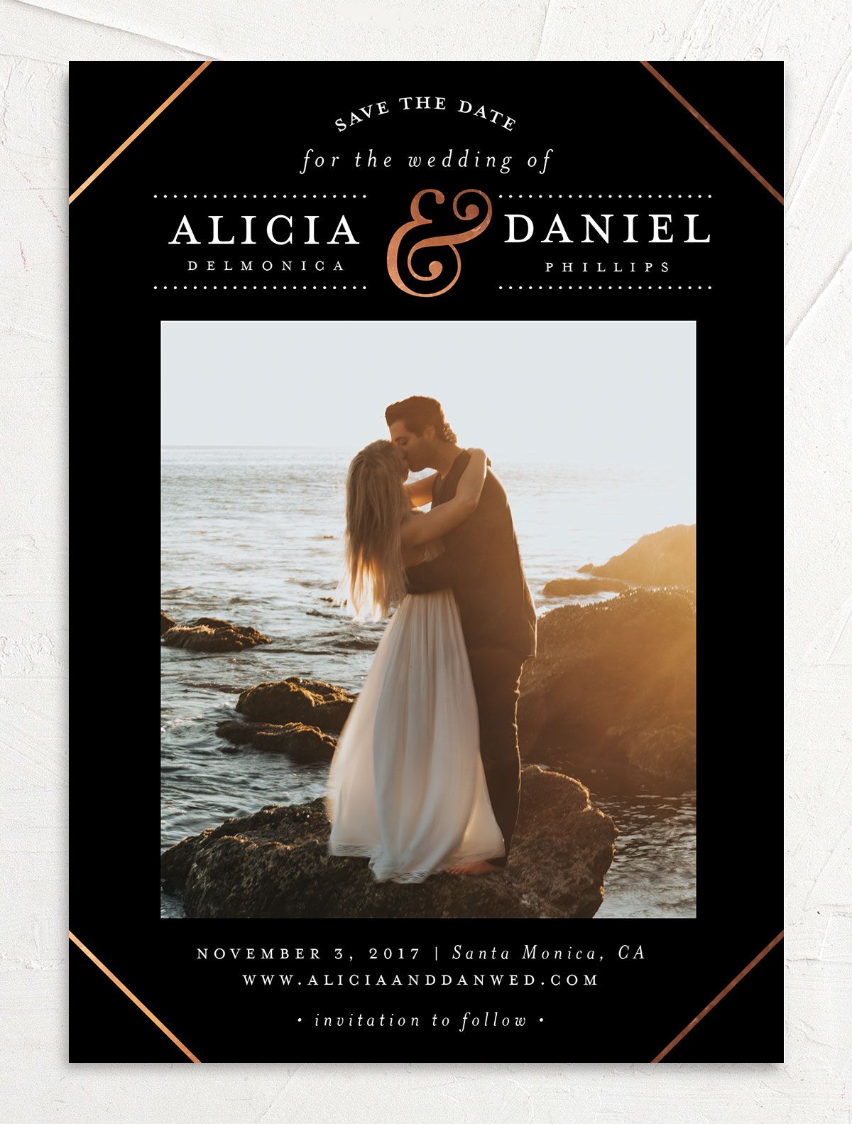 Formal Ampersand Save the Date photo card front in black