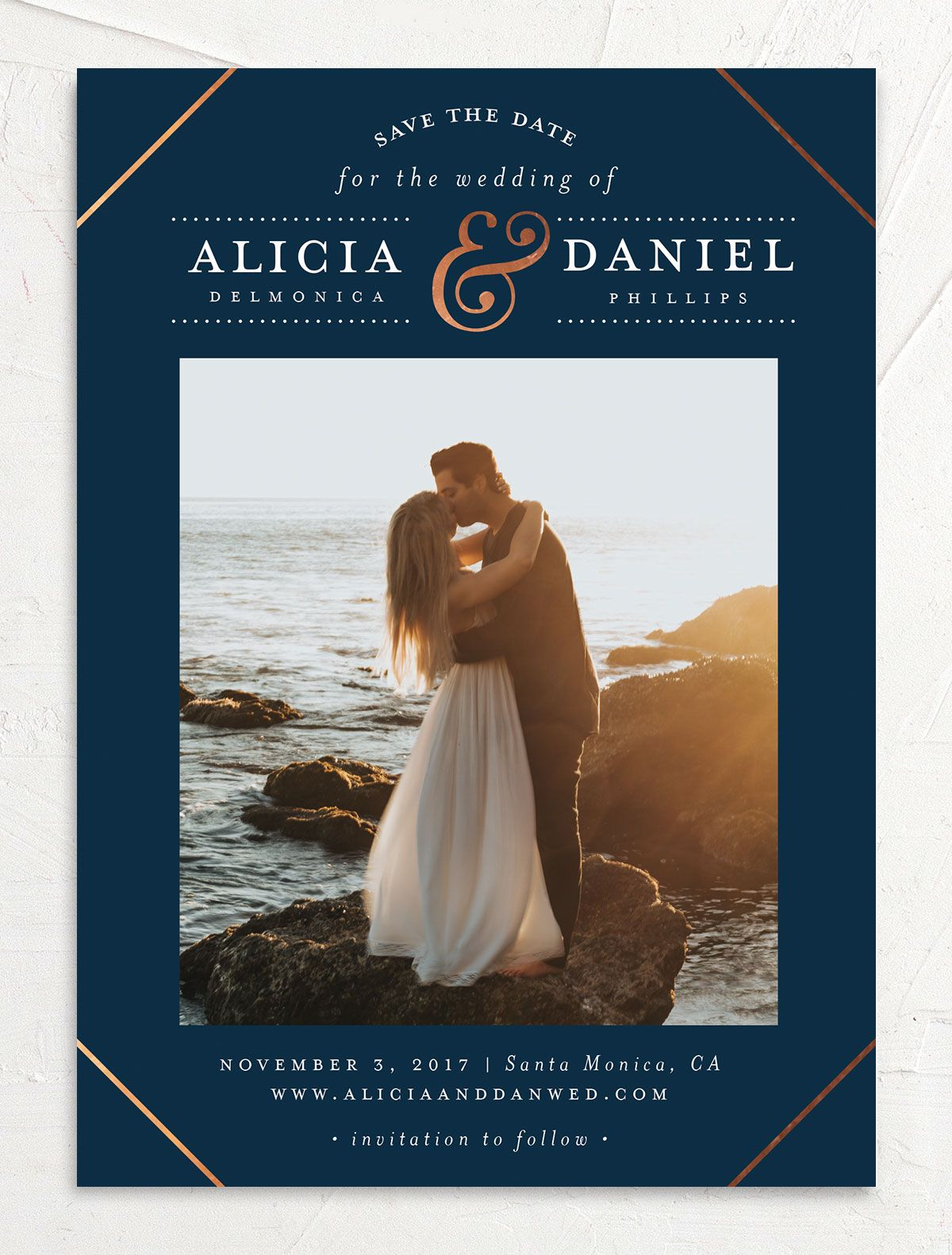 Formal Ampersand Save the Date photo card front in navy