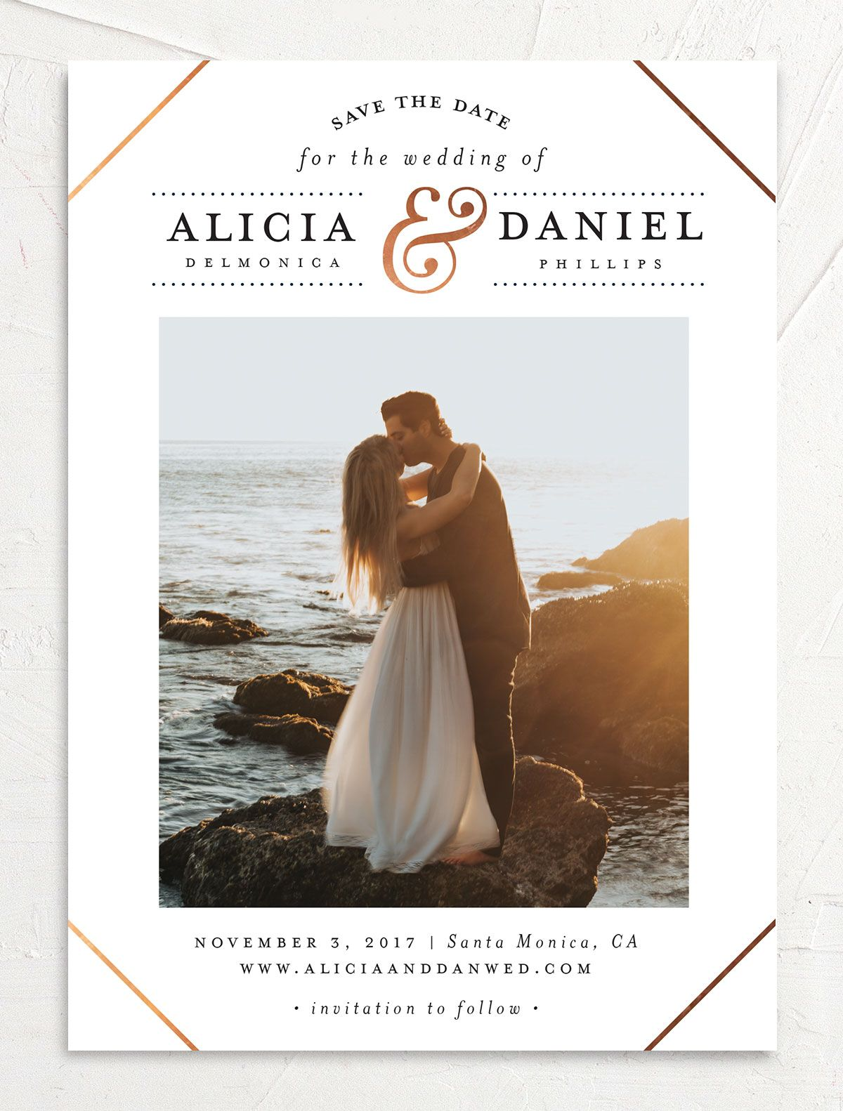 Formal Ampersand Save the Date photo card front in white