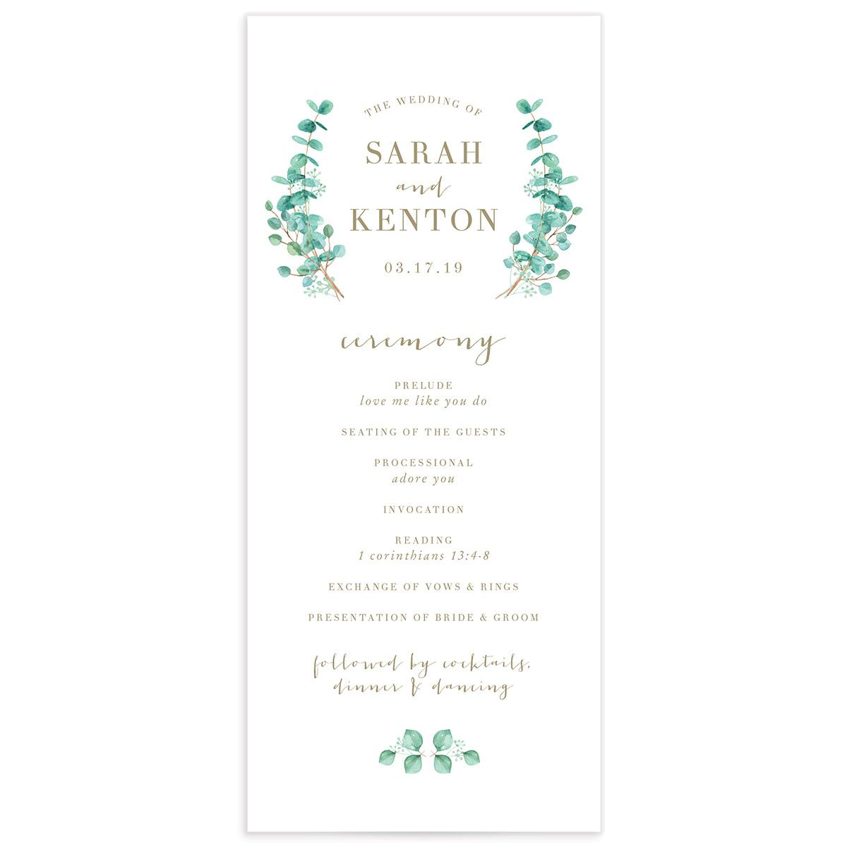 Elegant Eucalyptus wedding program front