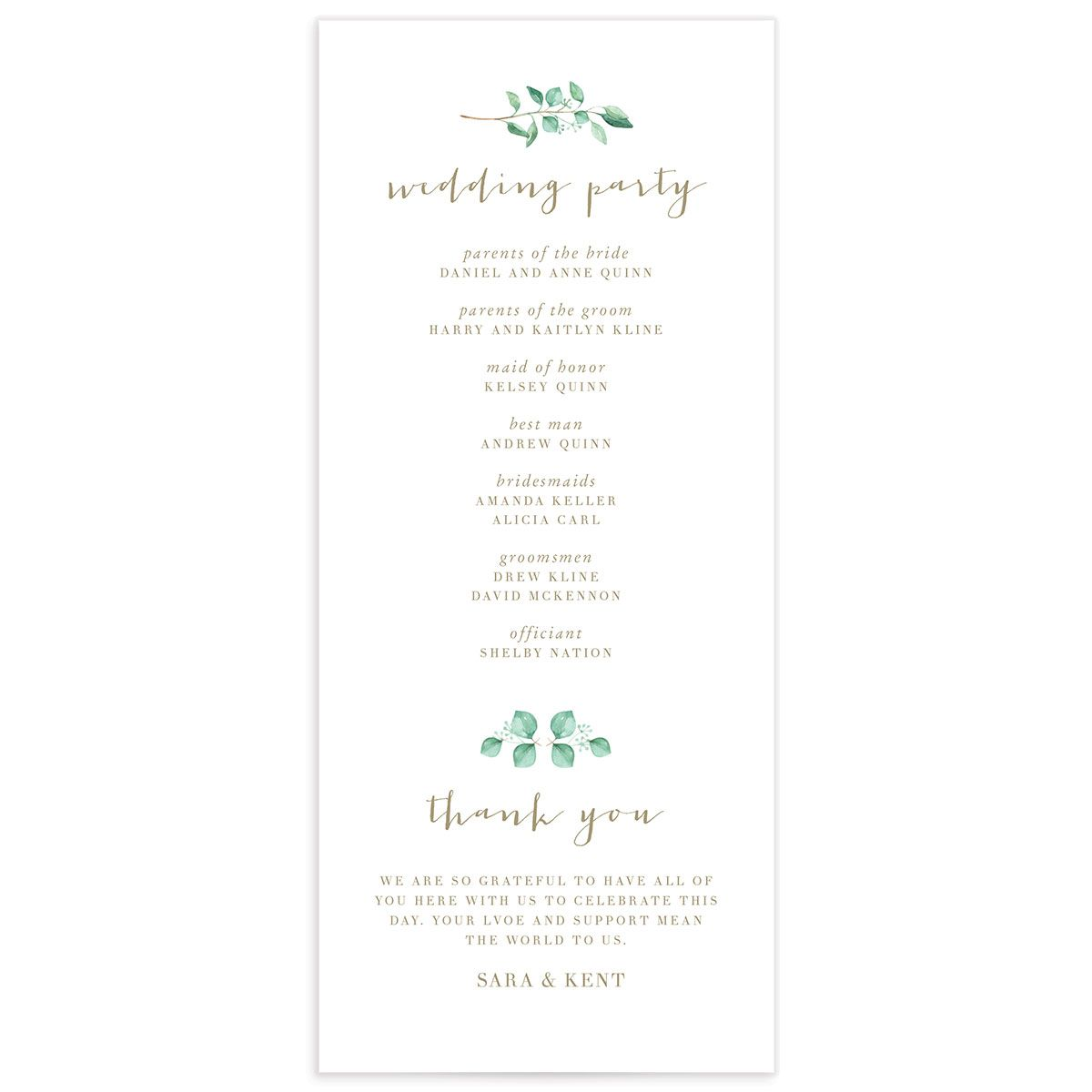 Elegant Eucalyptus wedding program back