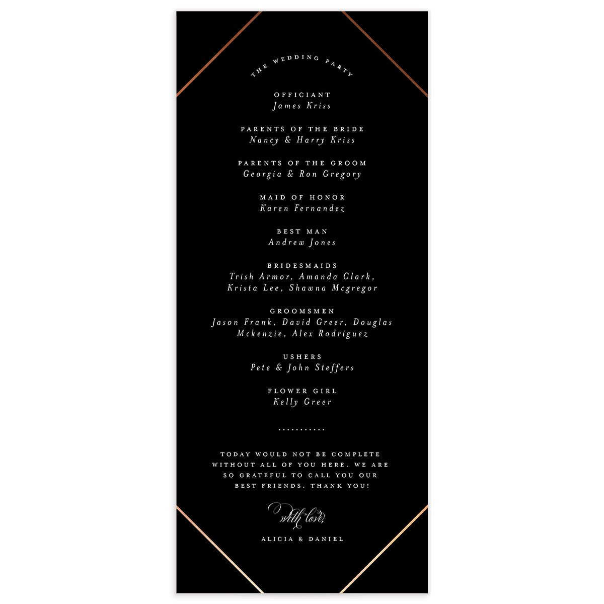 Formal Ampersand Wedding Programs back in black