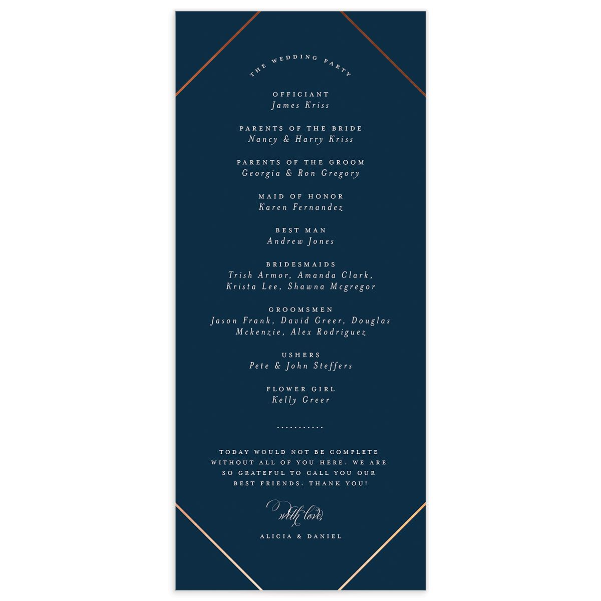 Formal Ampersand Wedding Programs back in navy