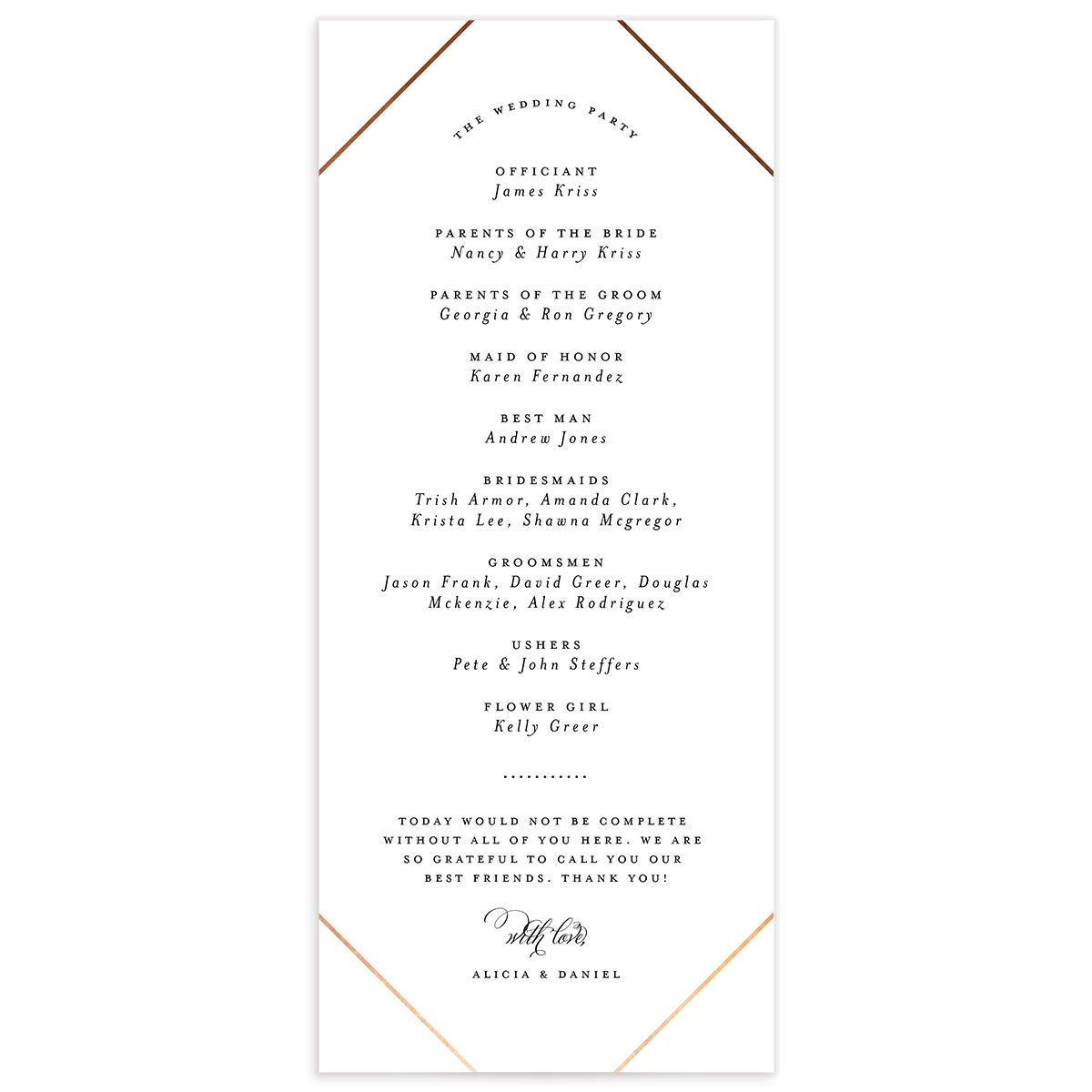 Formal Ampersand Wedding Programs back in white