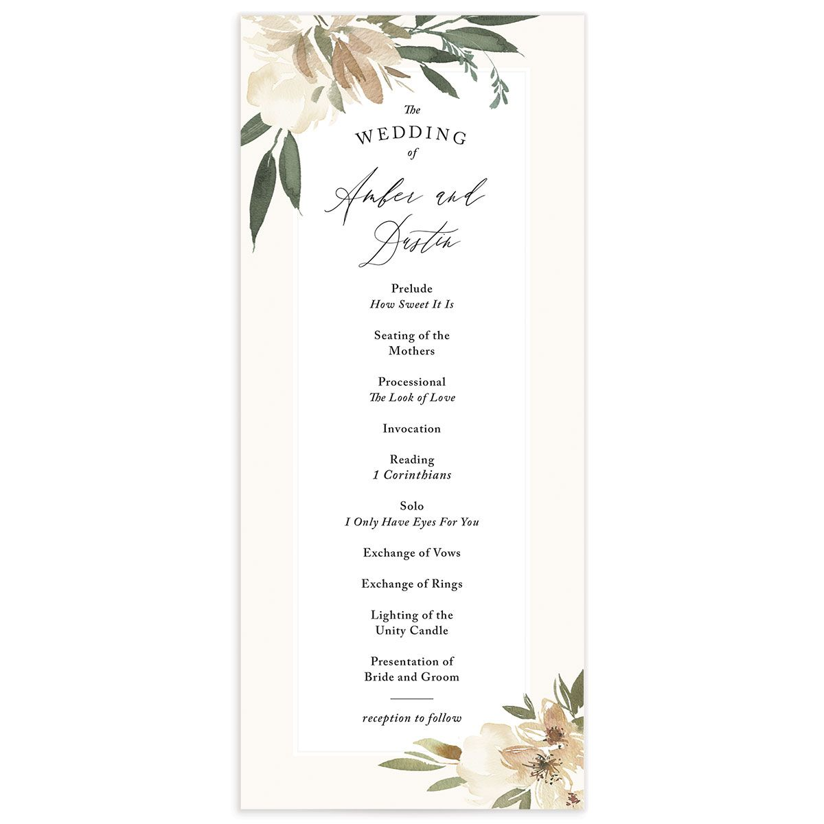 neutral greenery wedding programs in green