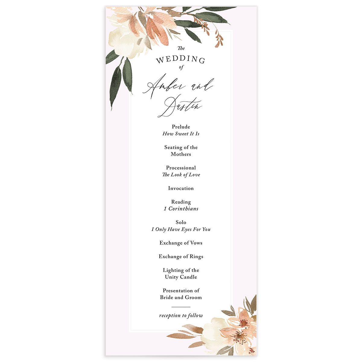 neutral greenery wedding programs in orange