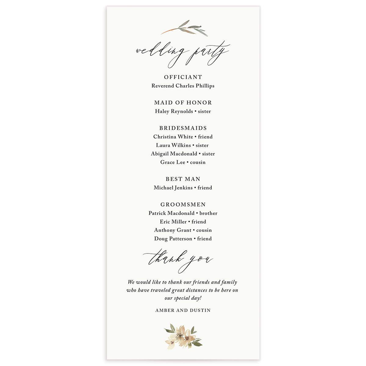 neutral greenery wedding programs in green back