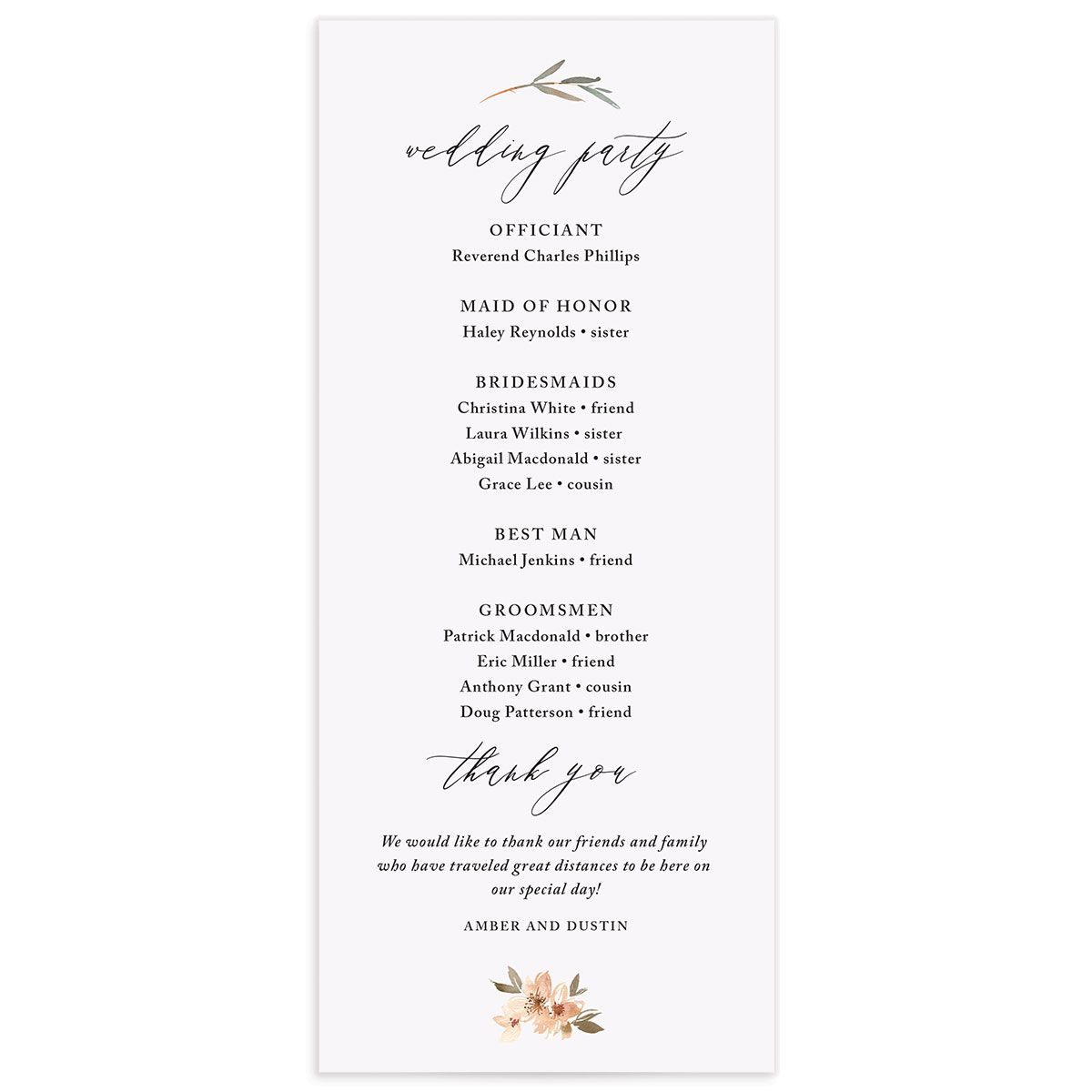 neutral greenery wedding programs in orange back