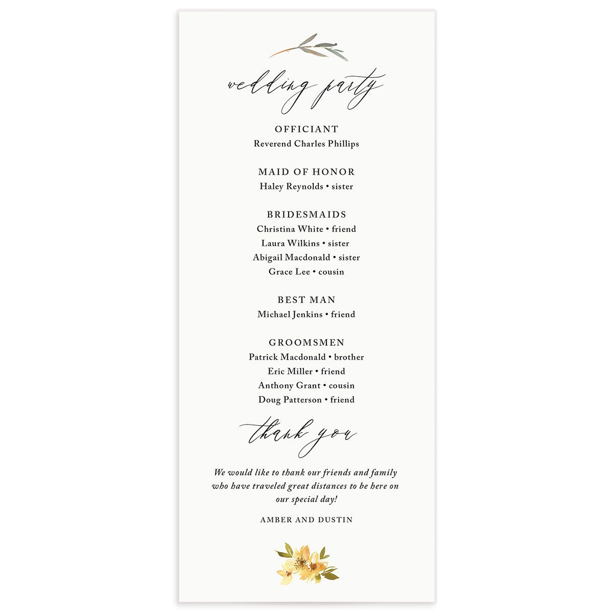 neutral greenery wedding programs in yellow back