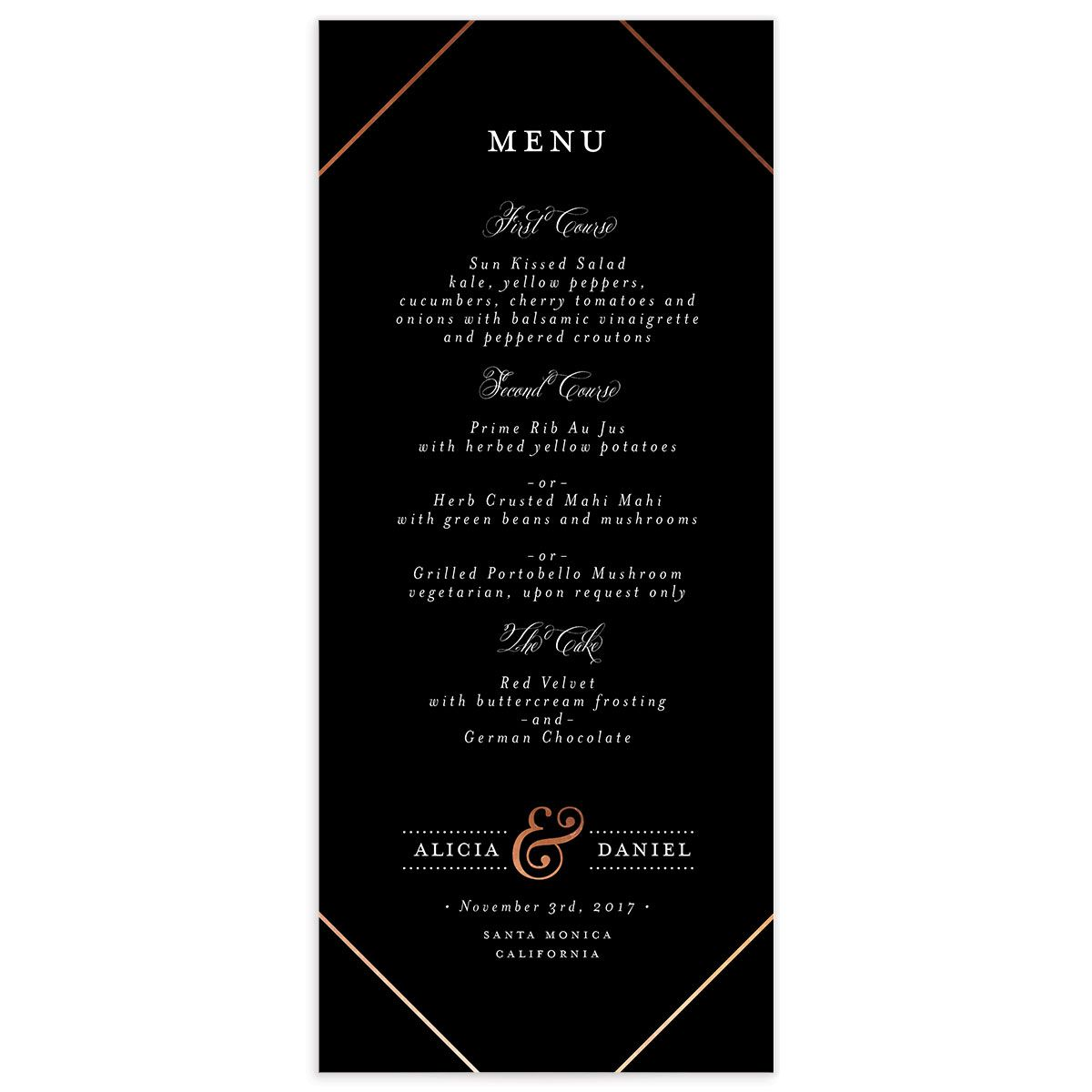Formal Ampersand Menus front in black