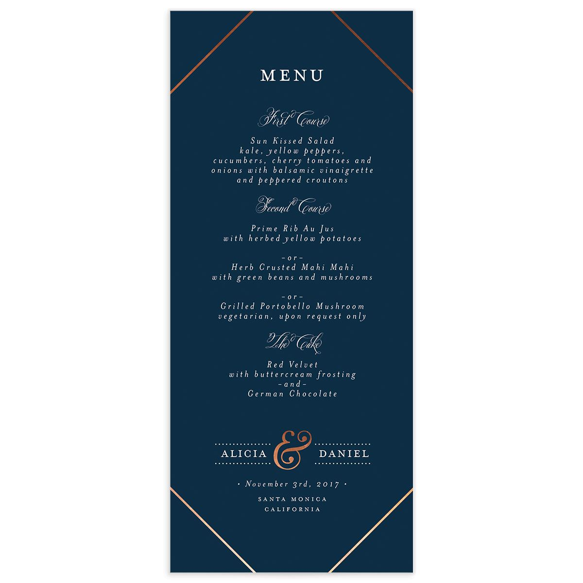 Formal Ampersand Menus front in navy