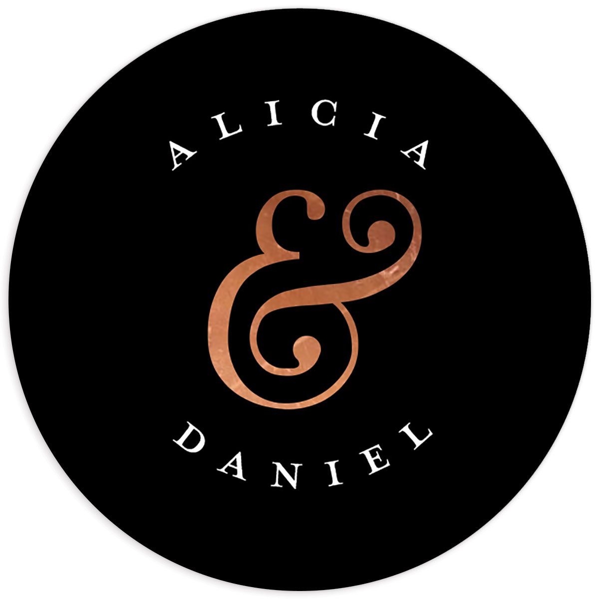 Formal Ampersand Wedding Stickers in black
