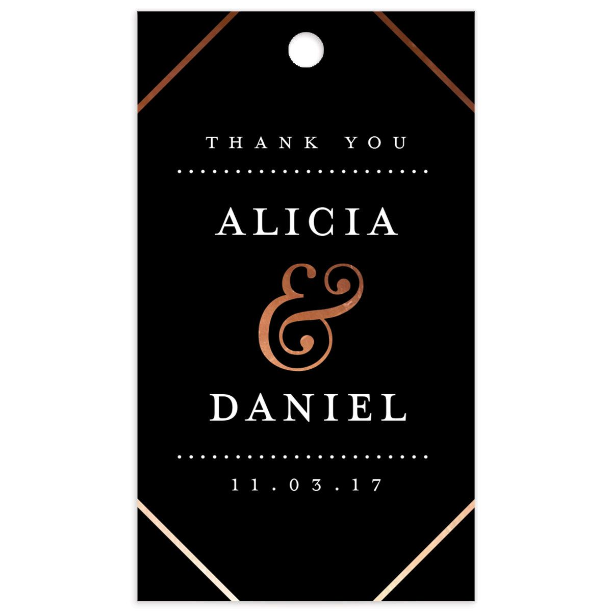 Formal Ampersand Wedding Gift Tag front in black