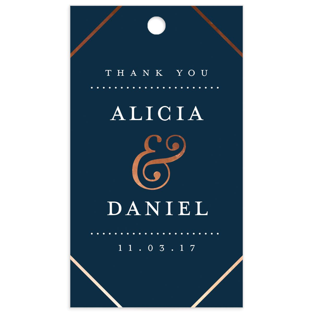 Formal Ampersand Wedding Gift Tag front in navy