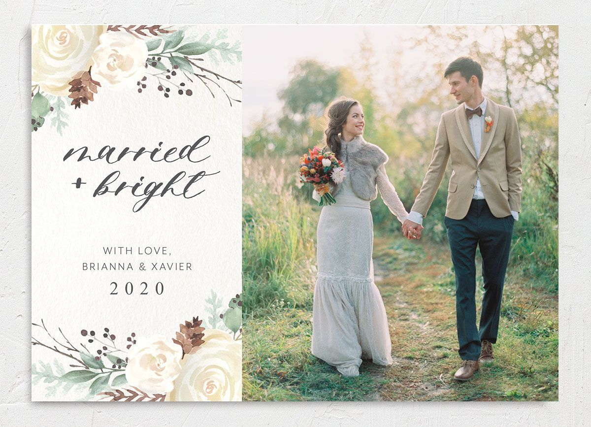 Rustic botanical newlywed holiday photo cards