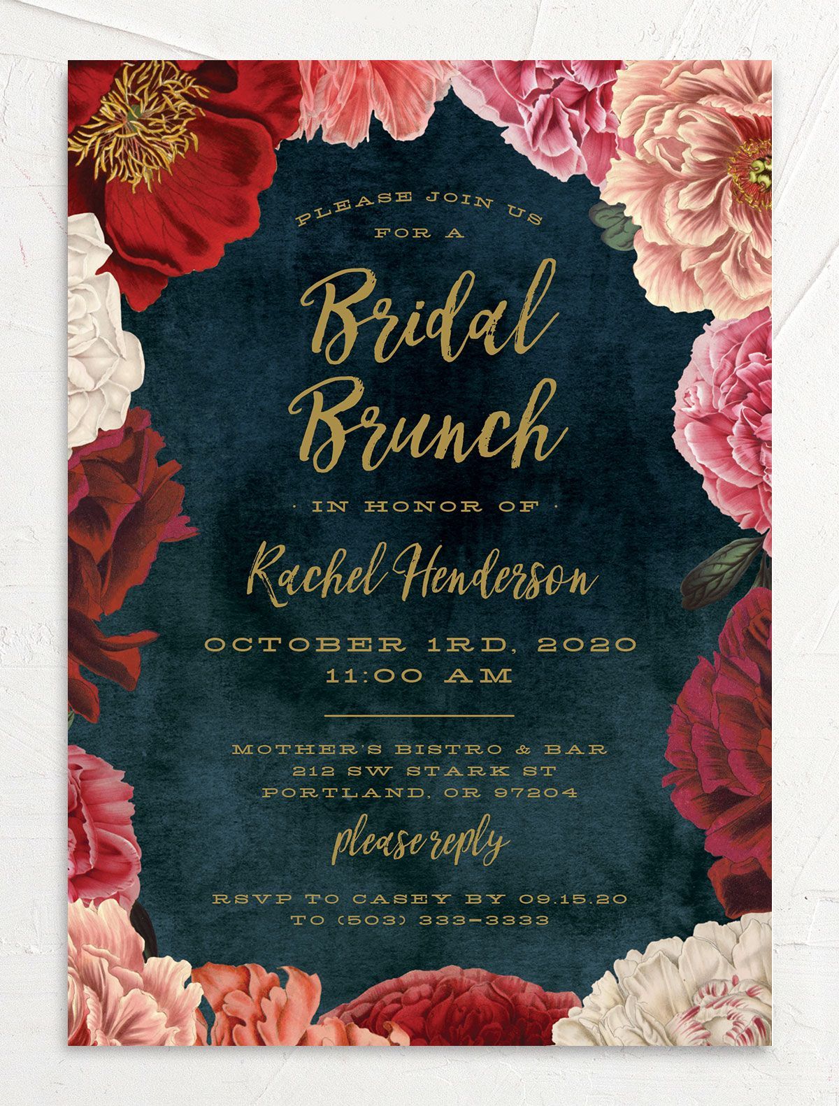 Midnight Peony bridal shower invite front