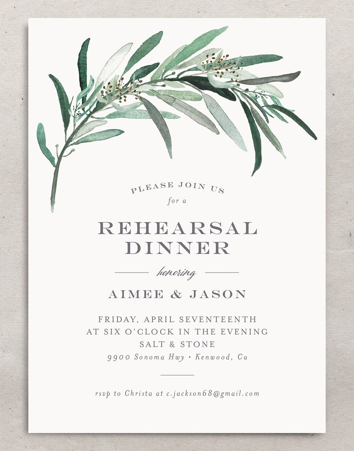 Lush Greenery Rehearsal Dinner invitation front