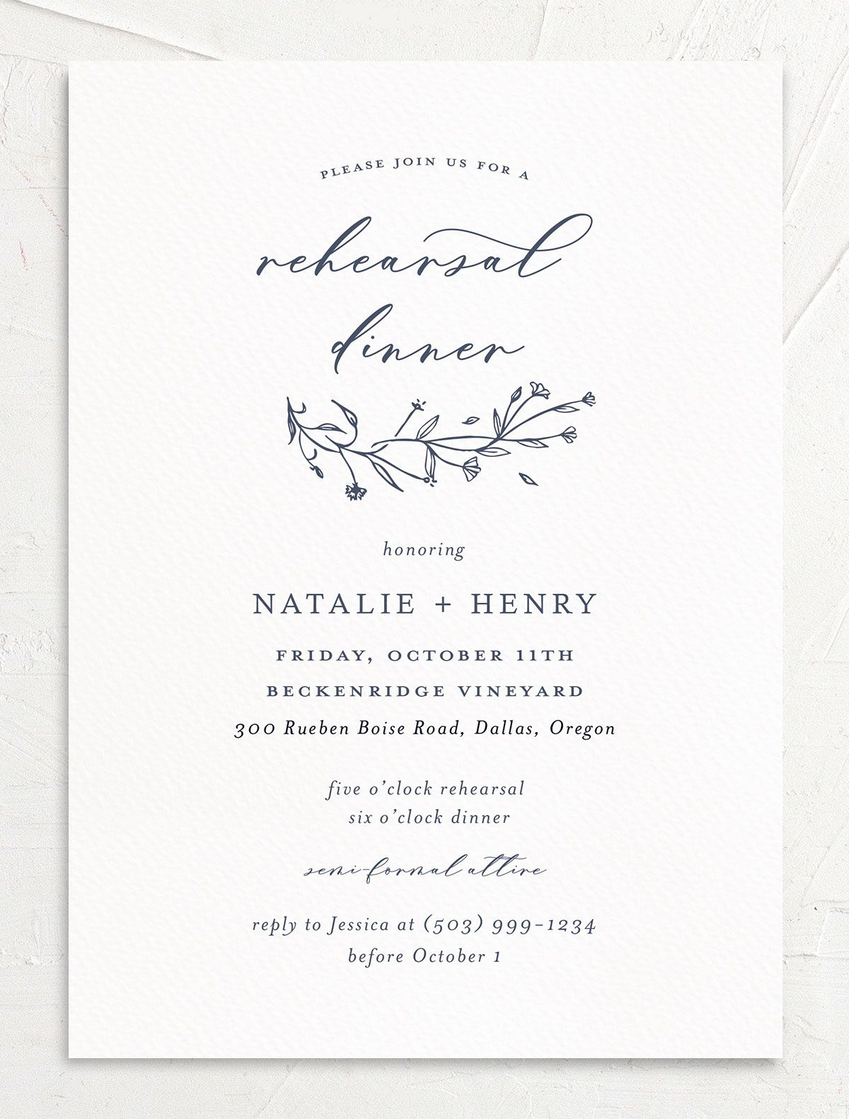 Natural Monogram invite front in blue