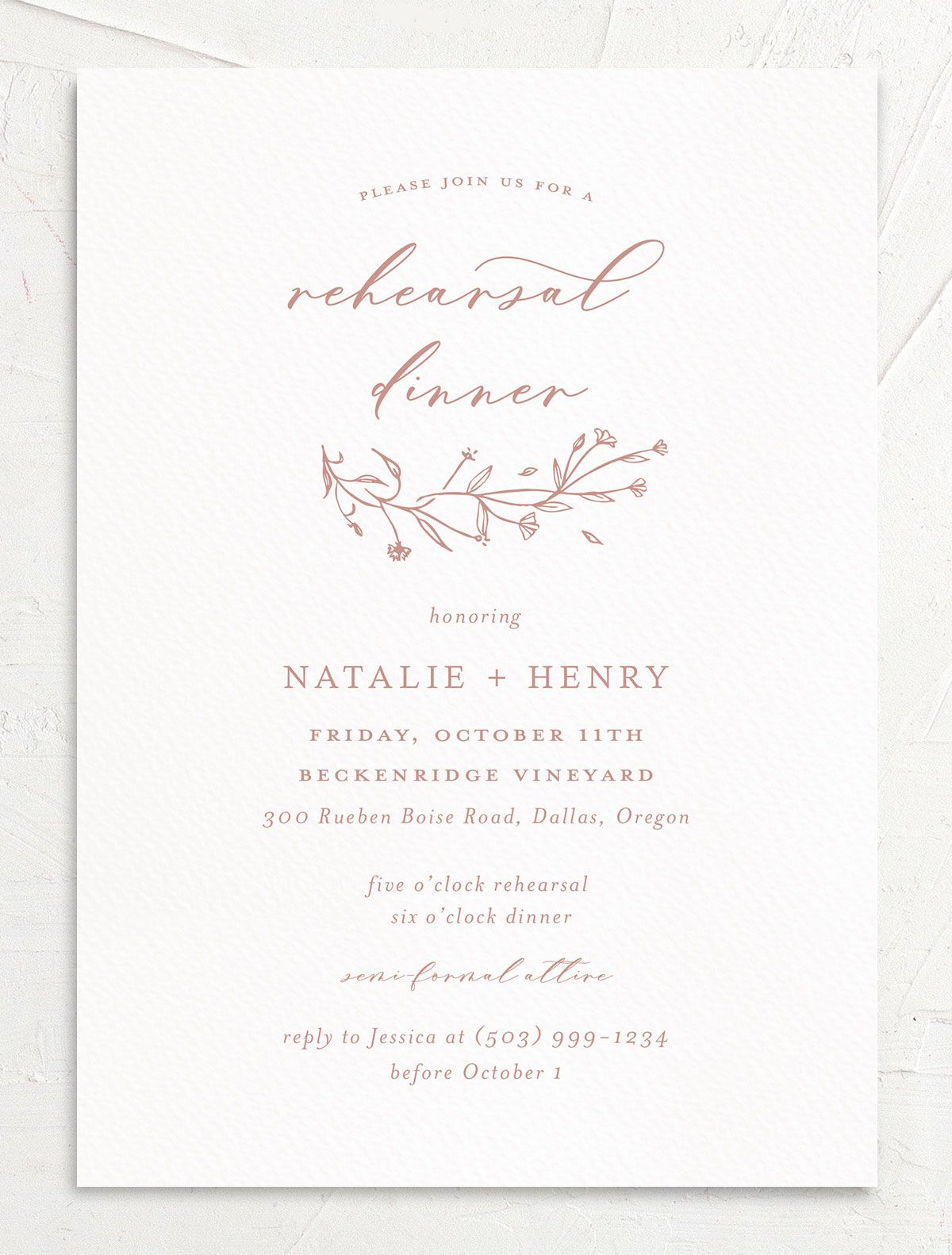 Natural Monogram invite front in pink